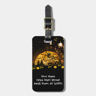 Flying Witch Harvest Moon Bats Halloween Gifts Luggage Tags