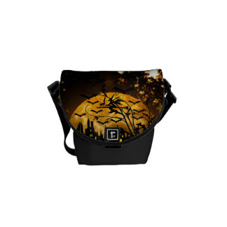 Flying Witch Harvest Moon Bats Halloween Gifts Courier Bags