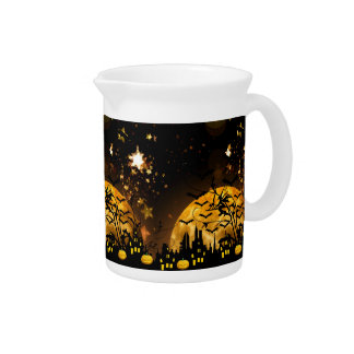 Flying Witch Harvest Moon Bats Halloween Gifts Drink Pitcher