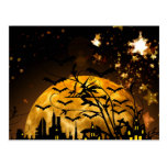 Flying Witch Harvest Moon Bats Halloween Gifts Postcard