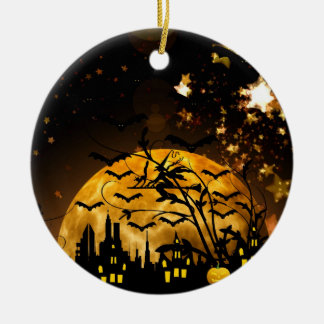 Flying Witch Harvest Moon Bats Halloween Gifts Round Ceramic Decoration