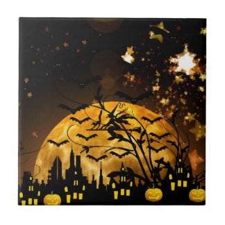 Flying Witch Harvest Moon Bats Halloween Gifts Small Square Tile