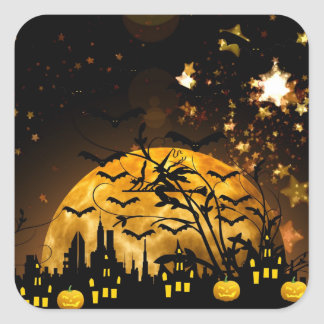 Flying Witch Harvest Moon Bats Halloween Gifts Square Sticker