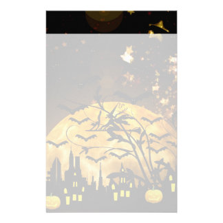 Flying Witch Harvest Moon Bats Halloween Gifts Customized Stationery