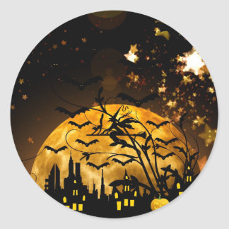 Flying Witch Harvest Moon Bats Halloween Gifts Sticker
