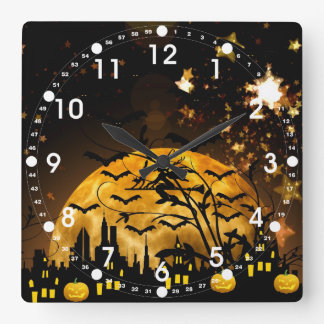 Flying Witch Harvest Moon Bats Halloween Gifts Wall Clock