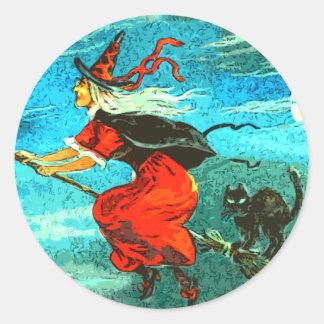 Flying Witch Round Sticker