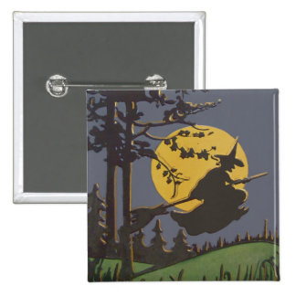 Flying Witch Silhouette Full Moon 15 Cm Square Badge