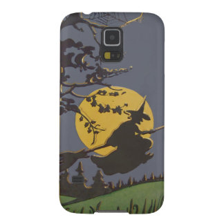 Flying Witch Silhouette Full Moon Spiderweb Case For Galaxy S5