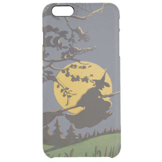 Flying Witch Silhouette Full Moon Spiderweb Clear iPhone 6 Plus Case