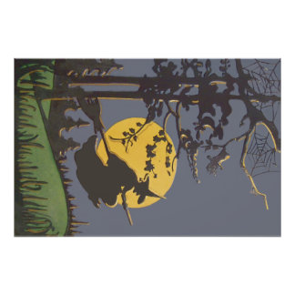 Flying Witch Silhouette Full Moon Spiderweb Photo