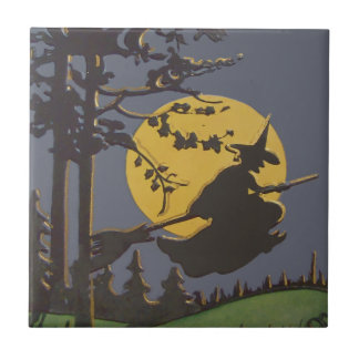 Flying Witch Silhouette Full Moon Tile