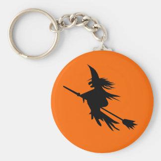 Flying Witch Silhouette   Halloween Orange Black Basic Round Button Key Ring