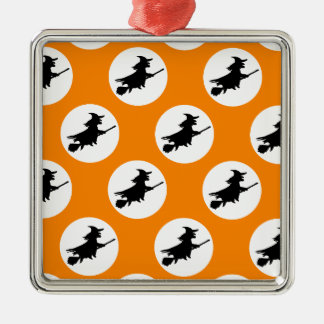 Flying Witches Silver-Colored Square Decoration