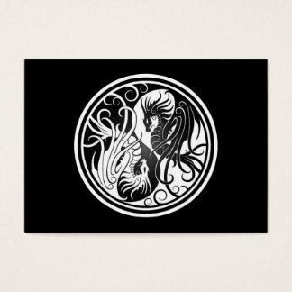 Flying Yin Yang Dragons - black and white