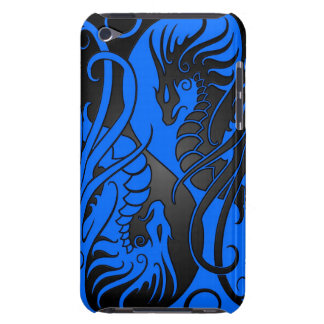 Flying Yin Yang Dragons - blue and black iPod Touch Cover