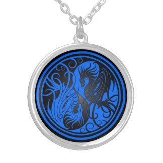 Flying Yin Yang Dragons - blue and black Custom Necklace