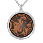 Flying Yin Yang Dragons - brown and black Custom Necklace