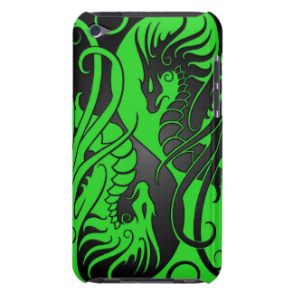 Flying Yin Yang Dragons - green and black iPod Touch Cases