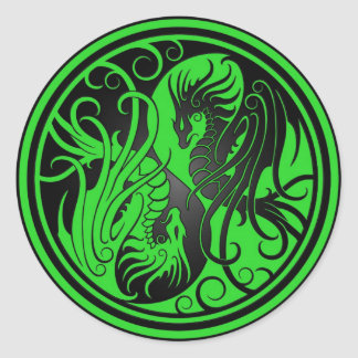 Flying Yin Yang Dragons - green and black Classic Round Sticker