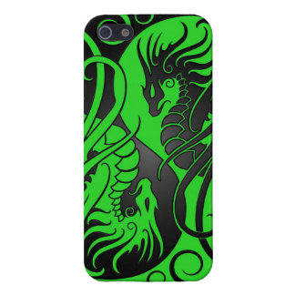 Flying Yin Yang Dragons - green and black iPhone 5/5S Cases