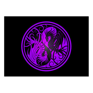Flying Yin Yang Dragons - purple and black Business Card