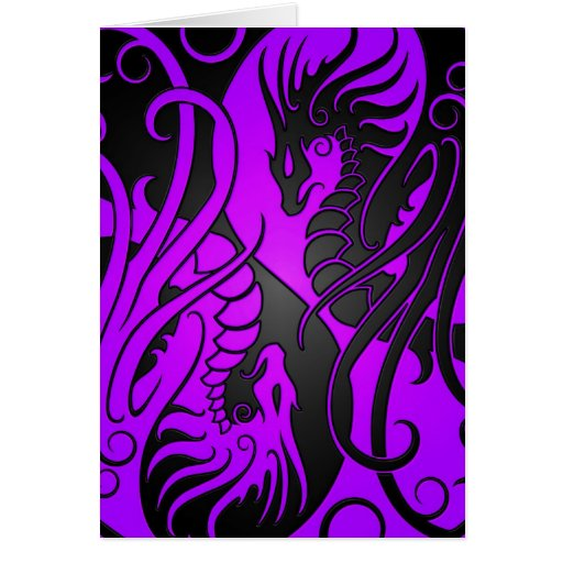 Flying Yin Yang Dragons - purple and black Card