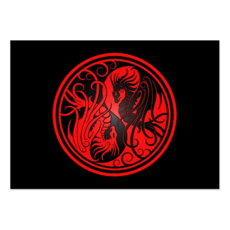 Flying Yin Yang Dragons - red and black Business Cards