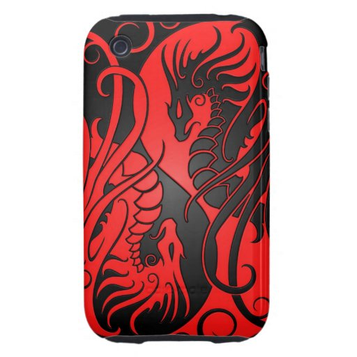 Flying Yin Yang Dragons - red and black iPhone 3 Tough Covers