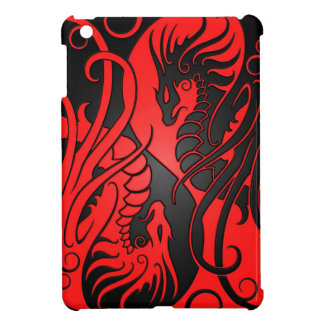 Flying Yin Yang Dragons - red and black iPad Mini Cases