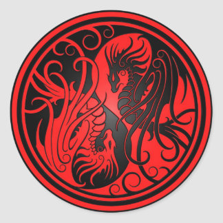Flying Yin Yang Dragons - red and black Round Sticker