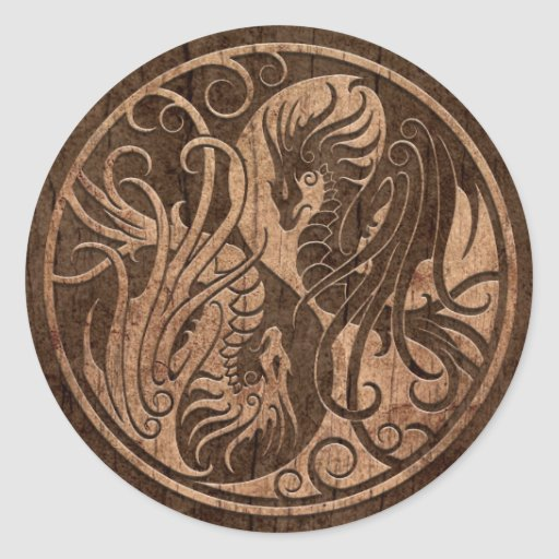 Flying Yin Yang Dragons with Wood Grain Effect Stickers