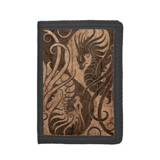 Flying Yin Yang Dragons with Wood Grain Effect Trifold Wallet