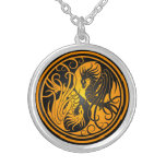 Flying Yin Yang Dragons - yellow and black Necklaces
