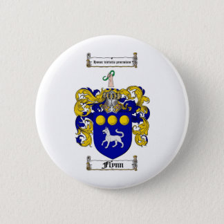 FLYNN FAMILY CREST -  FLYNN COAT OF ARMS 6 CM ROUND BADGE
