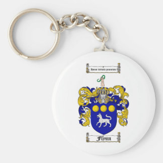 FLYNN FAMILY CREST -  FLYNN COAT OF ARMS BASIC ROUND BUTTON KEY RING