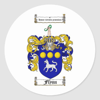 FLYNN FAMILY CREST -  FLYNN COAT OF ARMS ROUND STICKERS