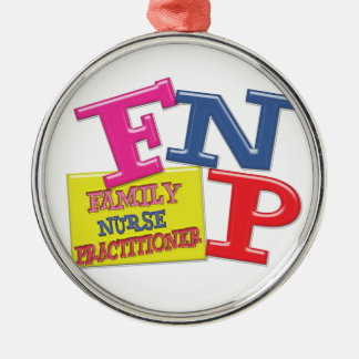 FNP WHIMSICAL ACRONYM FAMILY NURSE PRACTITIONER Silver-Colored ROUND DECORATION