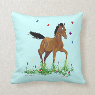 Foal and Butterflies American MoJo Pillow Throw Cushions