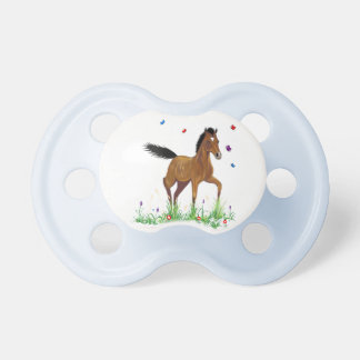 Foal And Butterflies Baby Pacifier