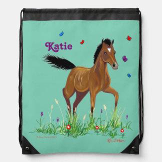 Foal and Butterflies Drawstring Pack Drawstring Bag