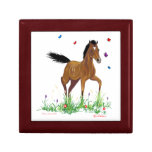 Foal and Butterflies Equestrian Jewellery/ Gift Small Square Gift Box