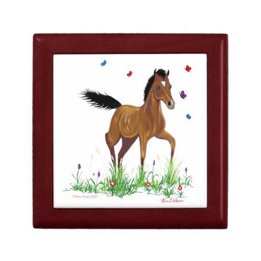 Foal and Butterflies Equestrian Jewelry/ Gift Box