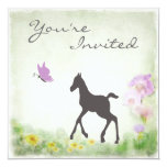 Foal, Butterfly and Flowers Horse Baby Shower 13 Cm X 13 Cm Square Invitation Card