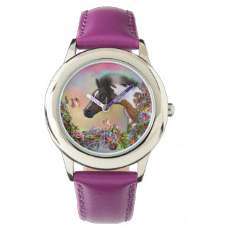 Foal & Butterfly Stainless Steel Purple see colors Watch