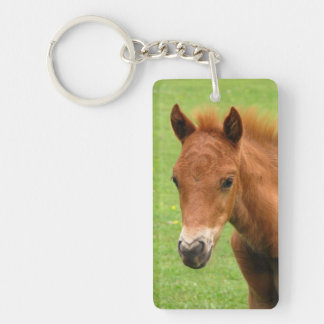 Foal, chesnut new forest pony keychain, gift Double-Sided rectangular acrylic key ring