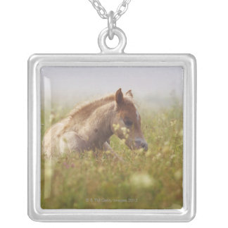 Foal wildflower meadow morning mist Piano Grande Silver Plated Necklace