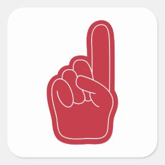Foam Finger Square Sticker