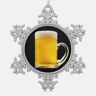 Foamy Beer Mug Snowflake Pewter Christmas Ornament