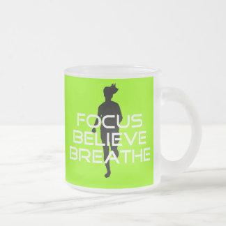 Focu Believe Breathe 10 Oz Frosted Glass Coffee Mug